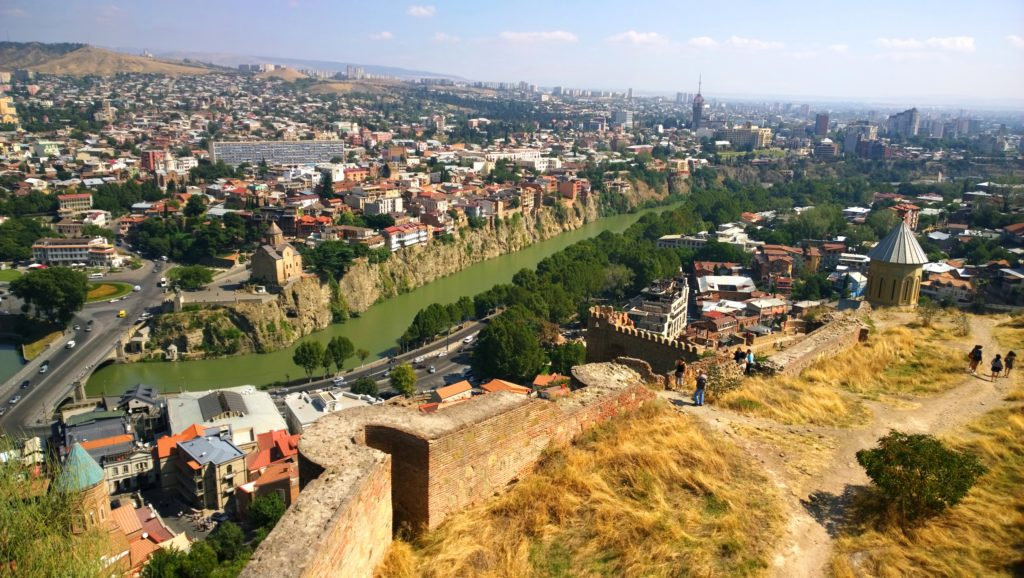 Part of the ruins of Narikala Fortress overlooking Tbilisi