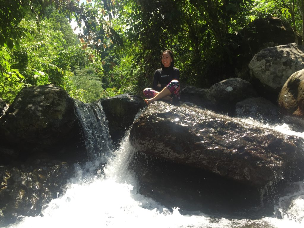 Conquering the boulders of Swagan Lino Lihek Falls