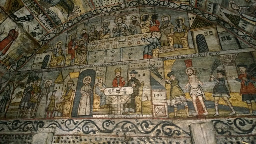 Frescoes commonly found inside the Wooden Churches in Maramures