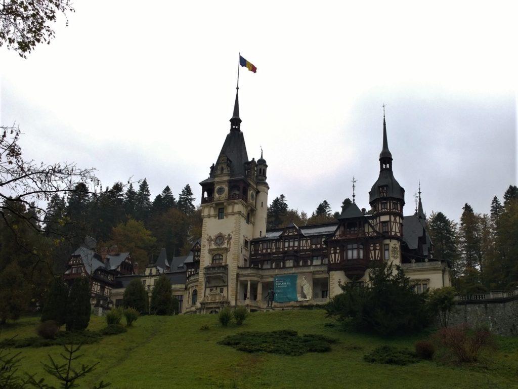 The Peles Castle set on a Carpathian hill